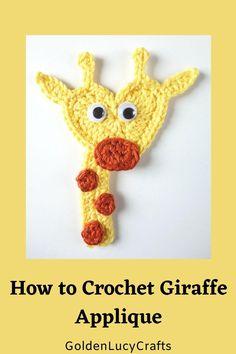 Crochet Giraffe Pattern, Crochet Applique Patterns Free, Crochet Keychain Pattern, Crochet Blanket Patterns, Crochet Motif, Free Pattern, Crochet Eyes, Cute Crochet, Crochet Crafts
