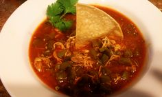 Sopa de nopal (chicken soup with cactus and pasilla chile)