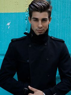 Funnel neck double breasted military style wool coat. Men's Fall Winter Fashion.