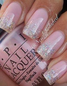 OPI Pink Nails, Glitter Nails, Opi, Nail Ideas, Nail Art Designs, Makeup Tips, Nail Polish, Beauty, Glittery Nails