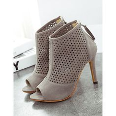 SheIn(sheinside) Grey High Heel Hollow Peep Toe Pumps