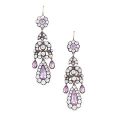 Antique Silver-topped Earrings with Diamonds and Pink Topaz