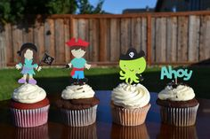 Pirate cupcake toppers by SweetPartyTreats on Etsy, $12.00