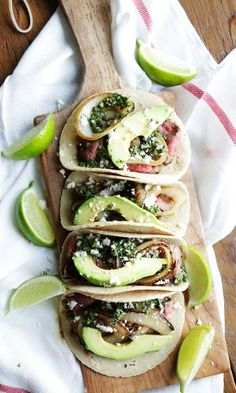 Try these delicious Pan Roasted Flank Steak Tacos with Chimichurri Sauce with Caramelized Onion, Avocado and Queso Fresco!