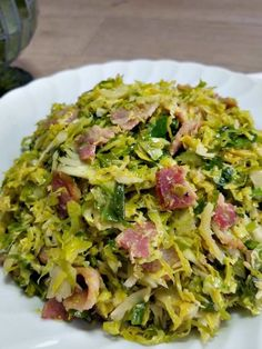 brussel sprouts and bacon on a plate