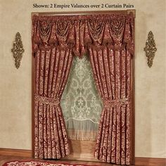 The polyester Palatial Window Treatment will give your room a royal appearance. Lined Curtains feature antique gold, woven leaf damask on ruby; Empire Valance also has antique gold damask on ruby; No Sew Curtains, Gold Curtains, Modern Curtains, Rod Pocket Curtains, Lined Curtains, Bathroom Curtains, Blackout Curtains, Daybed Sets, Daybed Bedding
