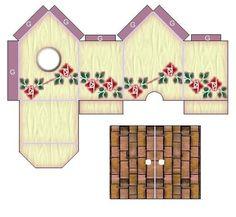 Pembe Kreasyon: KUŞ EV YAPIMI Putz Houses, Bird Houses, Paper Toys, Paper Crafts, Vitrine Miniature, Box Patterns, Pink Wallpaper Iphone, Pretty Box, Paper Houses