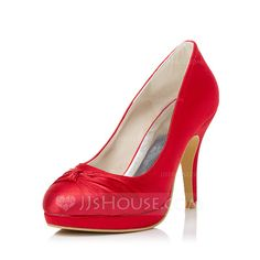 [US$ 52.99] Women's Satin Stiletto Heel Closed Toe Pumps With Bowknot (047039757)