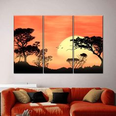 Savanna Sunset Multi Panel Canvas Wall Art is sure to elevate your decor. Bring Africa's fascinating beauty into your home and make your walls unique and eye-catching. 3 Piece Canvas Art, Canvas Wall Art, Wall Drawing, Art Drawings, 5 Panel Wall Art, Scratchboard Art, Poster Photography, Art Africain, Hanging Canvas