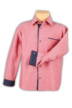 Koszula ceglana z ekskluzywną wstawką -chłopiec