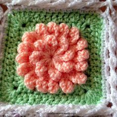 Spring flower blanket square Colours used: Apricot (centre), spring green (background) Crochet Squares, Crochet Granny, Granny Squares, Knit Crochet, Crochet Ideas, Crochet Patterns, Flower Granny Square, Spring Green, Green Backgrounds