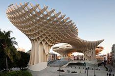 "Mushrooms in Seville  -  The wooden building ""Metropol Parasol"", popularly called ""The Mushrooms of Encarnación"" (Las Setas de la Encarnación)  Desined by German architect Jürgen Mayer-Hermann who  says that ""Metropol Parasol""  is the largest wooden building in the world."