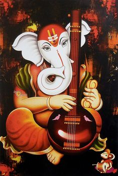 Ganesha Playing Tanpura - Hindu Posters (Reprint on Paper - Unframed) Ganesha Drawing, Lord Ganesha Paintings, Lord Shiva Painting, Ganesha Art, Krishna Painting, Jai Ganesh, Clay Ganesha, Ganesh Lord, Shree Ganesh