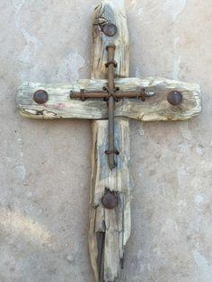 Rustic reclaimed wood & metal cross by 4mycozycottage on Etsy