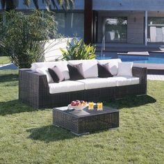 Hospitality Rattan Soho 3 Piece Deep Seating Group with Cushions Fabric: Canvas Brick