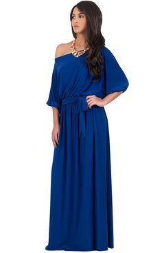 KOH KOH Womens Long Sexy One Shoulder Flowy Casual 3/4 Short Sleeve Maxi Dress *** Additional details at the pin image, click it  : Dresses for Christmas