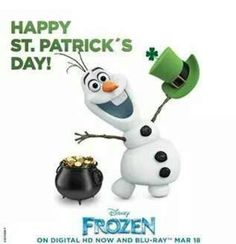 Photo of Olaf - Happy St. Patrick's Day for fans of Olaf and Sven. Frozen Movie, Olaf Frozen, Disney Frozen, Frozen Pics, Frozen 2013, Frozen Party, Disney Magic, Disney Art, St Patricks Day Pictures