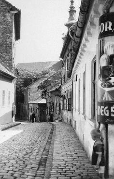 Görög utca - Fehérsas utca sarok, Vendéglő a mélypincéhez. Háttérben a Szerb templom tornya.