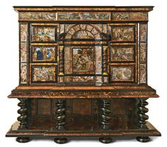 AN ITALIAN TORTOISESHELL, EBONY, EBONISED AND IVORY CABINET APPLIED WITH PAINTINGS ON GLASS, NEAPOLITAN MID 17TH CENTURY