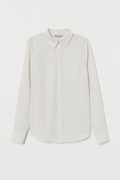 Satin blouse with a small stand-up collar, V-neck, and pleat at front. Long sleeves with two covered buttons at cuffs. Rounded hem, slightly longer at back. Double Breasted Coat, Covered Buttons, Fashion Company, Houndstooth, Sleeve Styles, Personal Style, Autumn Fashion, Beige, Lady
