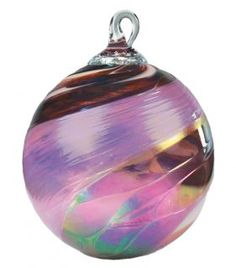 Mt. St. Helens Ash Hand Blown Glass Ornament - Pink Feather Chip - 3'' diameter