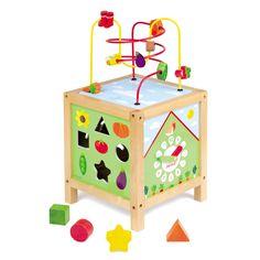 [Janod ジャノー]ガーデン・マキシルーピング 遊びながら時間を学べる知育玩具です。時間のピースをはめたり時計の針を書いて遊べます。