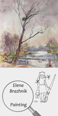 "Elena Brazhnik   Painting   Printable   Design   Interior   Instant Download   ""Lone Tree"" (fragment)   Landscape Watercolor Paper Purple Pink Orange Day River Autumn Reflections Digital Image for Print   №LW-003"