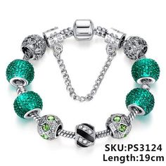 Silver Crystal Beads Bracelet Snake Chain Charms Bracelets Fit Original Bracelet Bangle Authentic Jewelry 49