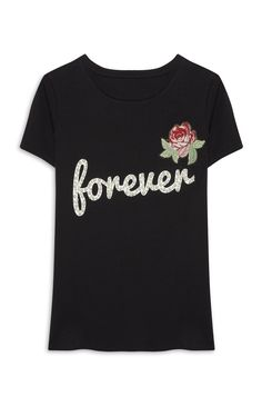 Pearl Embellished Slogan T-Shirt