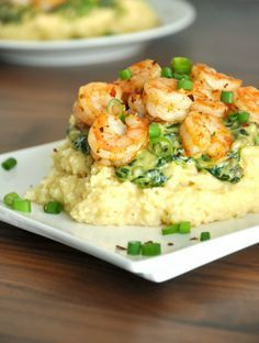 Cheesy Gouda Grits with Savory Spinach Sauce & Seasoned Shrimp