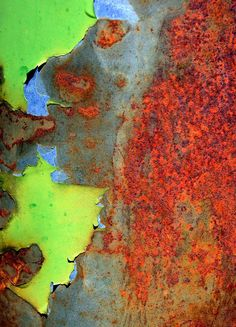 A striking image of the colorful processes of rust on metal. Contemporary abstract composition using digital images of rusted and weathered metal surfaces. Using digital photography images, the high q                                                                                                                                                                                 More