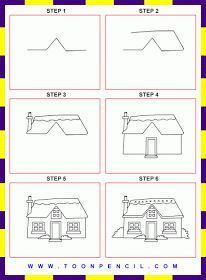 Draw Houses Step By Step   Google Search