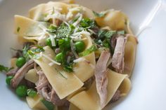Spicy Pork Pasta with Peas and Mint