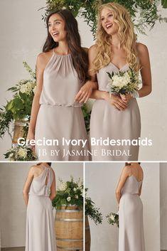Jasmine Bridal - JB Grecian Ivory Bridesmaids | Neutral Bridal Party | Simple Bridesmaid Dresses | Long Bridesmaid Dresses | Mix & Match Bridesmaids | Available for Plus Size Bridesmaids | #bridesmaidgoals #weddinginspiration #bridesmaiddresses