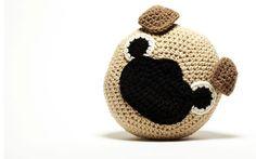 Crochet Pug Pillow by peanutbutterdynamite on Etsy https://www.etsy.com/listing/87082239/crochet-pug-pillow