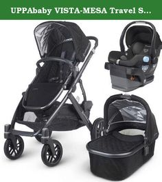UPPAbaby VISTA-MESA Travel System - Jake Black - FREE SHIPPING. Whether zipping through the urban jungle or breezing down a winding country way, the VISTA takes your child on the road in style. Part sports car, part super-utility vehicle, the VISTA is fully equipped to master any terrain.This kit includes the UPPAbaby VISTA stroller with bassinet and the UPPAbaby MESA Car Seat.