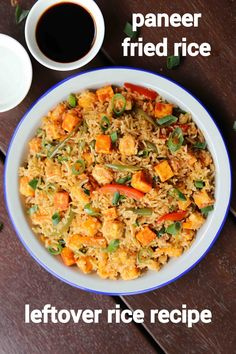 paneer fried rice recipe, paneer fry rice, veg paneer fried rice with step by step photo/video. stir fried rice recipe with crumbled paneer & veggies. Spicy Recipes, Curry Recipes, Vegetarian Recipes, Oats Recipes, Healthy Recipes, Rice Recipes For Lunch, Mexican Rice Recipes, Vegetable Pulao Recipe, Snacks