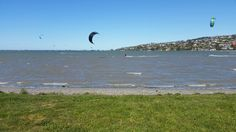 Kite surfing on estuary Christchurch