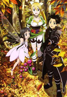 Sword Art Online, Yui, Leafa & Kirito, official art