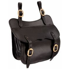 """Australian style saddle pockets in quality leather with brass fittings. Will fit left or right sides. 11"""" W x 9"""" H x 4"""" D."""