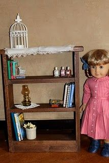 """18"""" Doll: Large Bookshelf-this site has TONS of plans for AG type dolls"""