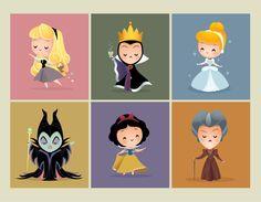 Aurora , Malefica , Reina malvada , Blanca nieves , Cenisienta y madrastra.