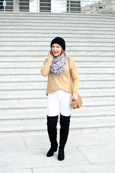 Blame it on Mei, Miami Fashion Blogger, 2017, Casual Fall Look, Winter Outfit, Oversize Sweater with Pom Pom Beanie, White Destroyed Denim, Chanel Boy, Over The Knee Boots, OTK black boots, Zebra Print Scarf, Washington DC