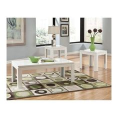Standard Furniture Outlook Rectangular White Laminate 3 Piece Coffee Table Set