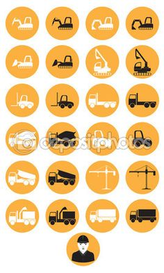 Construction machinery icons — Stock Vector © paveu #62366497