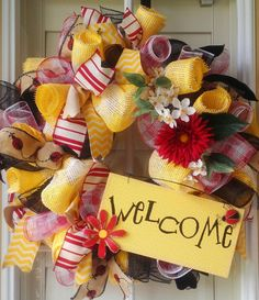 Welcome Deco Mesh Wreath by OfftheWallKreations