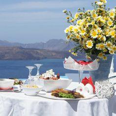 Traditional Greek Easter lunch in Santorini island