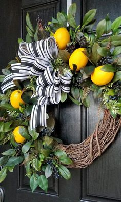 This kind of photo is truly an outstanding style alternative. #frontdoorsstyles Spring Front Door Wreaths, Fall Wreaths, Deco Mesh Wreaths, Holiday Door Wreaths, Summer Front Porches, Rustic Wreaths, Double Door Wreaths, Ribbon Wreaths, Lemon Wreath