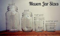 Common mason jar sizes