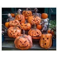 Paper Mache Halloween Pumpkins and a Centaur – via Polyvore featuring home, home decor, holiday decorations, pumpkin home decor and halloween home decor